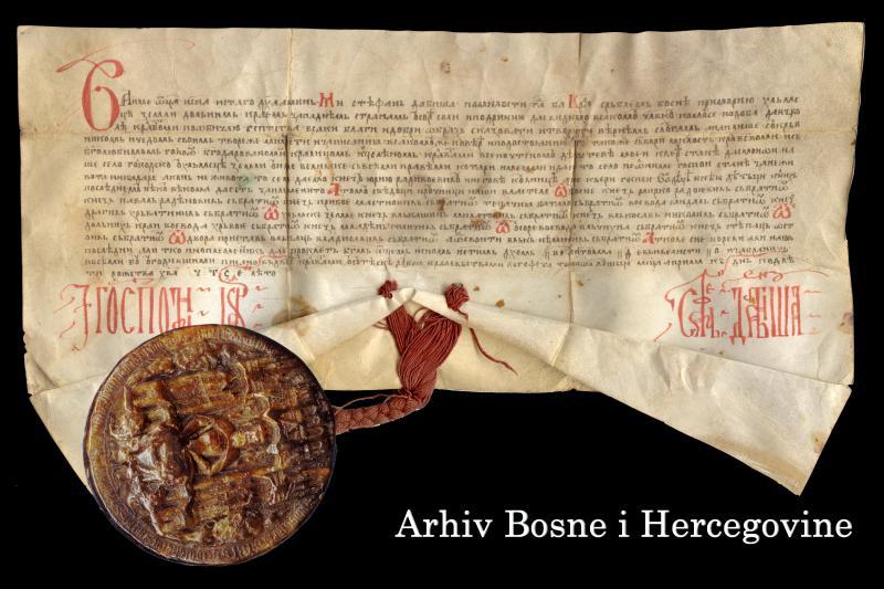 """Povelja (darovnica) bosanskog kralja Stjepana Dabiše od 26. aprila 1395. godine, kojom svojoj kćeri Stani poklanja selo Velijak u humskoj zemlji """"i da se to selo ne oduzme gospođi Stani za njenog života nikada, a po njenom životu to selo dajemo knezu Juriju Radivojeviću i njegovoj domaćici, a ne kćeri gospođe vladike i njenoj djeci i njihovim nasljednicima...""""Ova darovnica kćeri Stani pisana je gotovo neposredno pred Dabišinu smrt."""