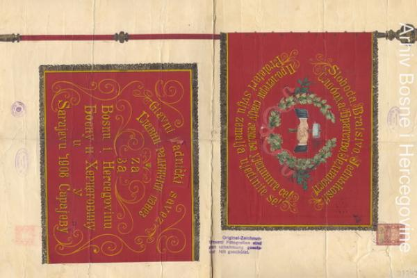 Sketches for trade-union flags: Main Worker's Union for Bosnia and Herzegovina (1908) and for Worker's Trade Alliances Tuzla (1910) and Mostar (1911)